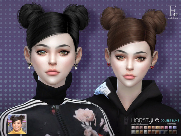 Double buns n42 hair by s club at TSR image 4917 Sims 4 Updates
