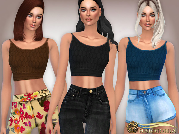 Sims 4 Patterned Knit Crop Top by Harmonia at TSR