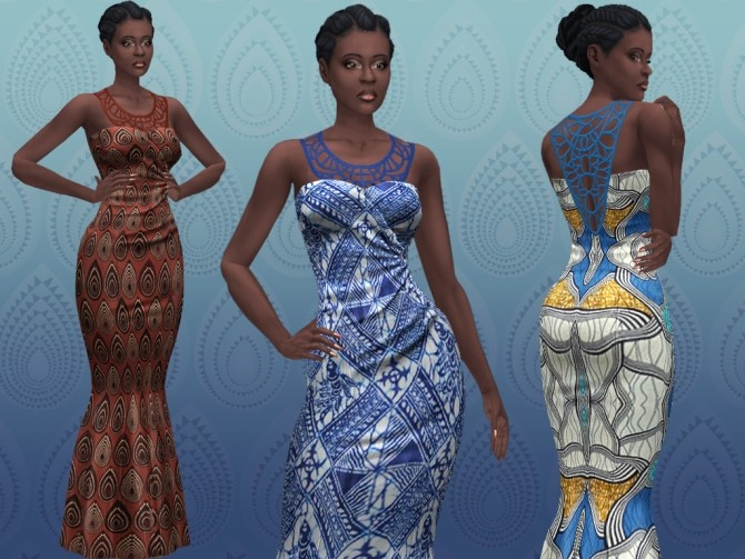 Sims 4 African formal mermaid dress by lilotea at Mod The Sims