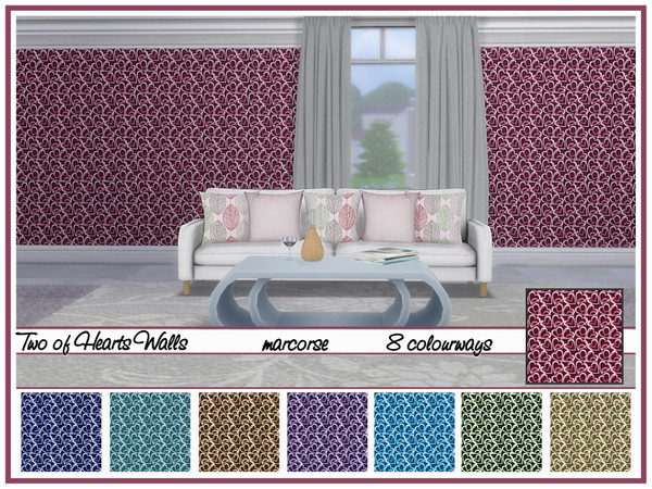 Two of Hearts Walls by marcorse at TSR image 530 Sims 4 Updates