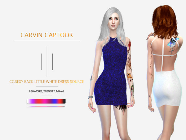 Sims 4 Back Little White Dress Source by carvin captoor at TSR