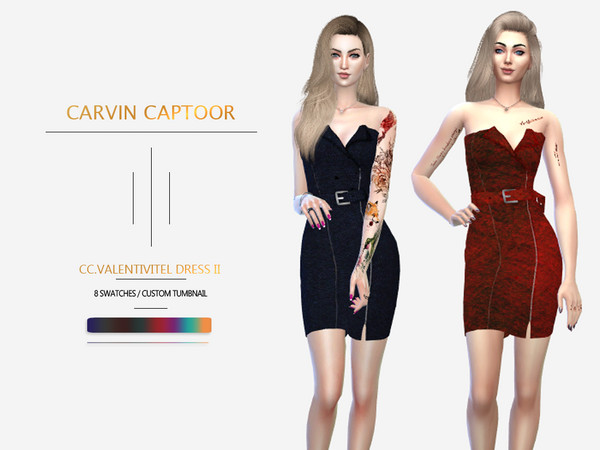 Sims 4 Dress II by carvin captoor at TSR