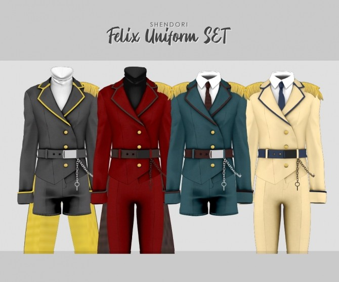 Sims 4 Felix Uniform Set at SHENDORI SIMS