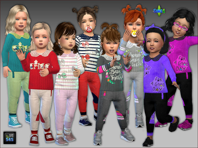 Sims 4 Sweaters and pants for toddler girls by Mabra at Arte Della Vita