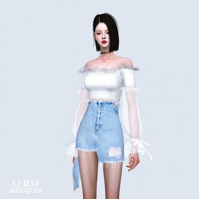 Sims 4 Sha Frill Long Sleeves Off Shoulder Blouse (P) at Marigold