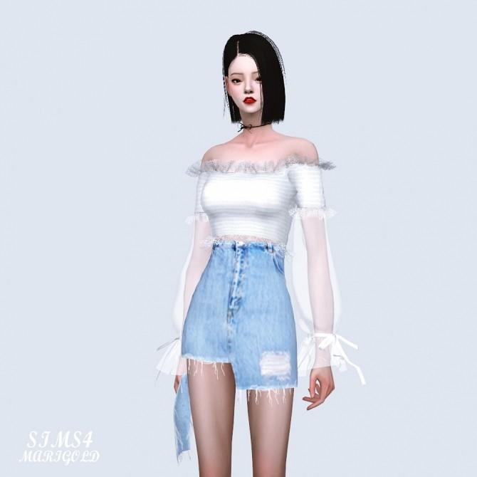 Sha Frill Long Sleeves Off Shoulder Blouse (P) at Marigold image 626 670x670 Sims 4 Updates