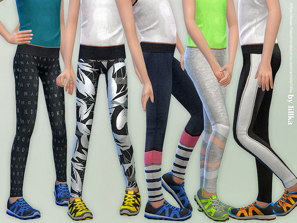 Sims 4 Sporty Leggings for Girls by lillka at TSR
