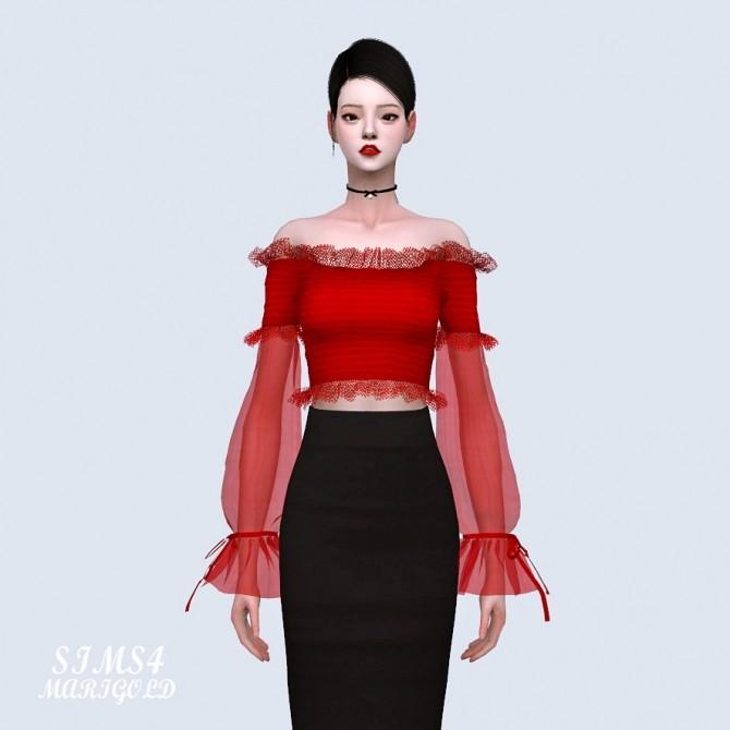Sha Frill Long Sleeves Off Shoulder Blouse (P) at Marigold image 636 670x670 Sims 4 Updates