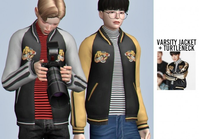 Sims 4 Varsity jacket + turtleneck at Casteru