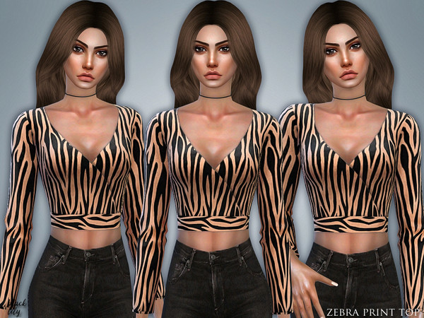 Sims 4 Zebra Print Top by Black Lily at TSR