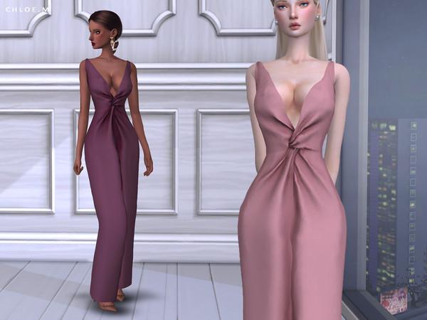Sims 4 Long Dress by ChloeMMM at TSR