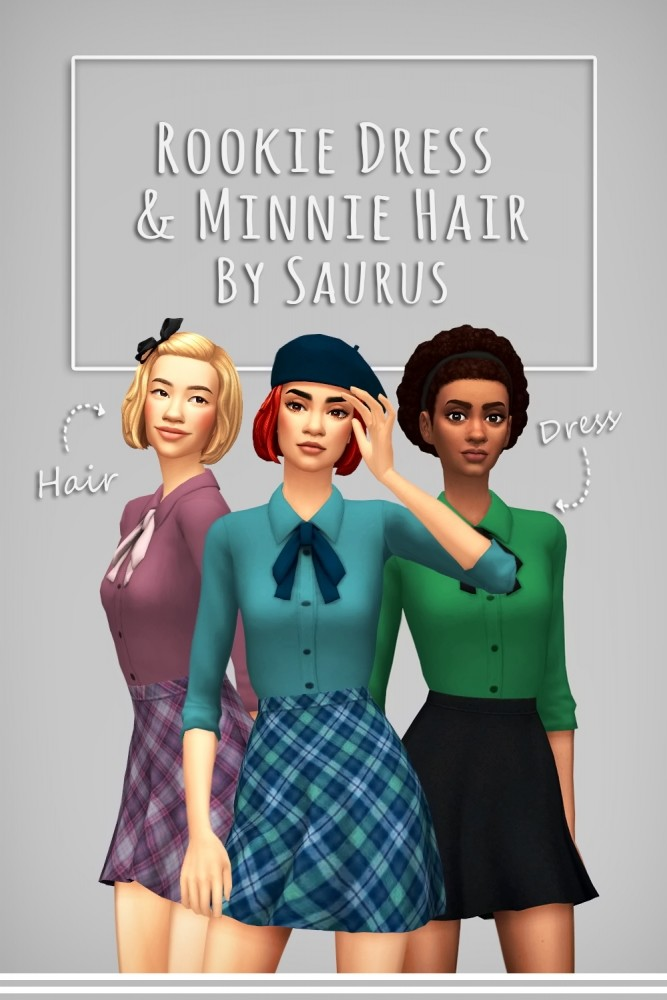 Sims 4 Rookie Dress aka Little Bishop V3 & Minnie hair at Saurus Sims