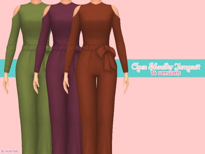 Open shoulder jumpsuit at Heartfall image 776 670x503 Sims 4 Updates
