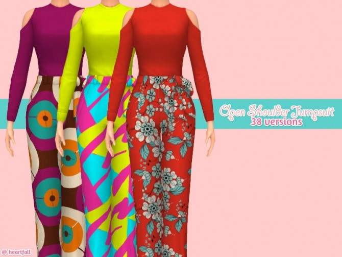 Sims 4 Open shoulder jumpsuit at Heartfall