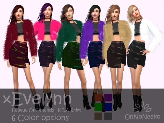 Sims 4 KDA Evelynn Skirt at OhNoNeeko