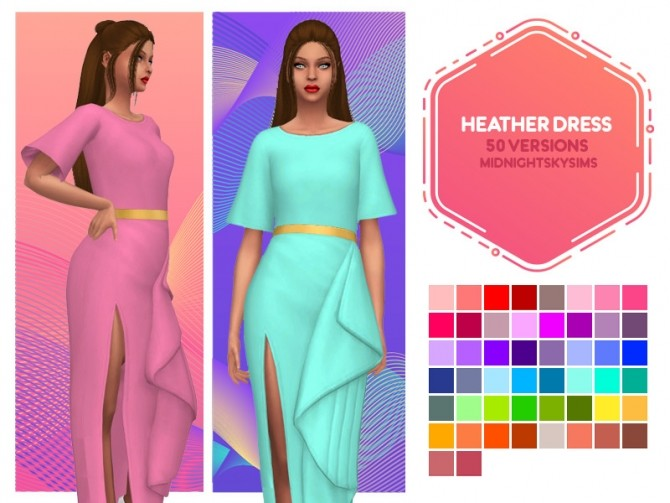 Sims 4 Heather dress recolors at Midnightskysims