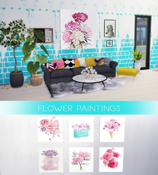 Flower Paintings at Kenzar Sims image 9013 670x740 Sims 4 Updates