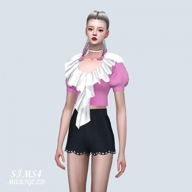 Sims 4 Frill Neck Puff Sleeves Blouse at Marigold