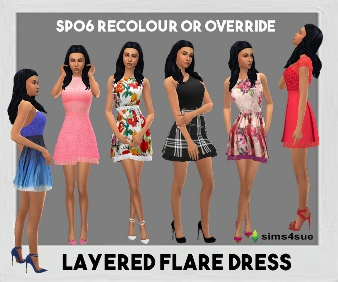 SP06 LAYERED FLARE DRESS at Sims4Sue image 10113 670x559 Sims 4 Updates