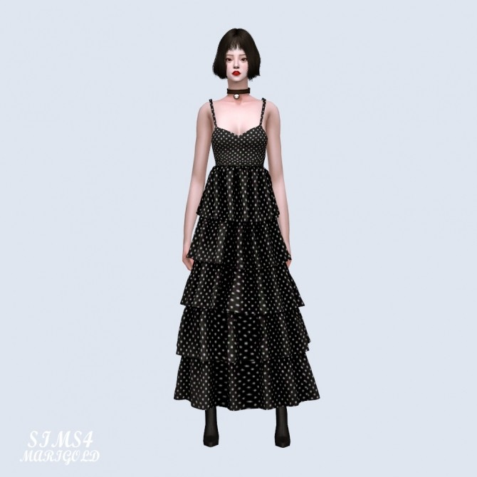 Sims 4 Frill Tiered Dress (P) at Marigold