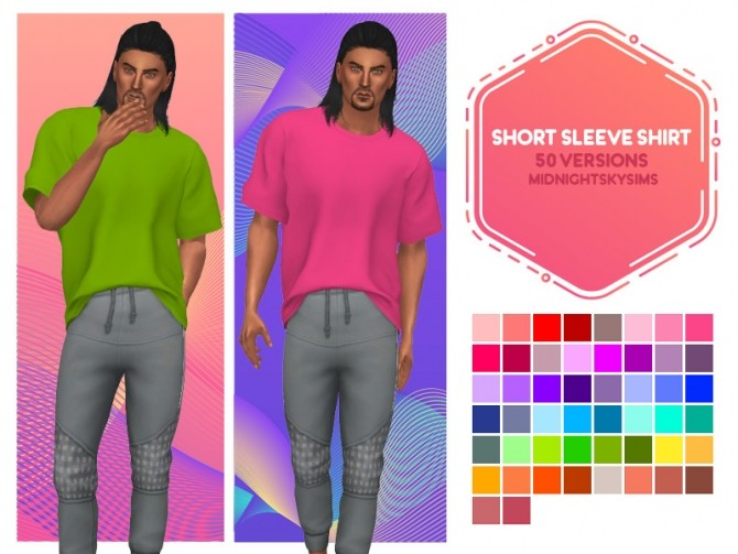 Sims 4 Short sleeve shirt recolors at Midnightskysims