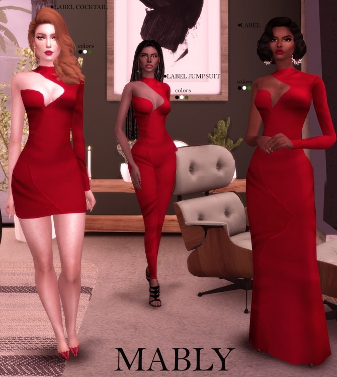 Sims 4 LABEL SET dresses & jumpsuit at Mably Store