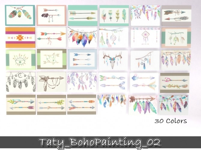 Boho paintings 02 at Taty – Eámanë Palantír image 10915 670x503 Sims 4 Updates