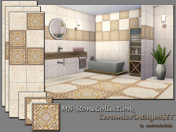 Sims 4 MB Stone Collection Ceramic Vintage 3 SET by matomibotaki at TSR