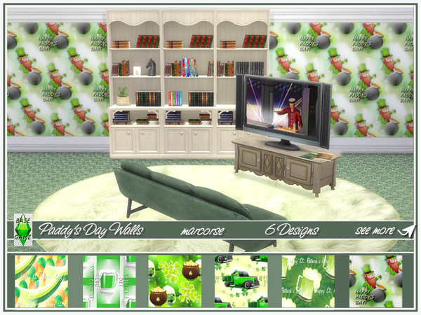 Paddys Day Walls by marcorse at TSR image 1127 Sims 4 Updates