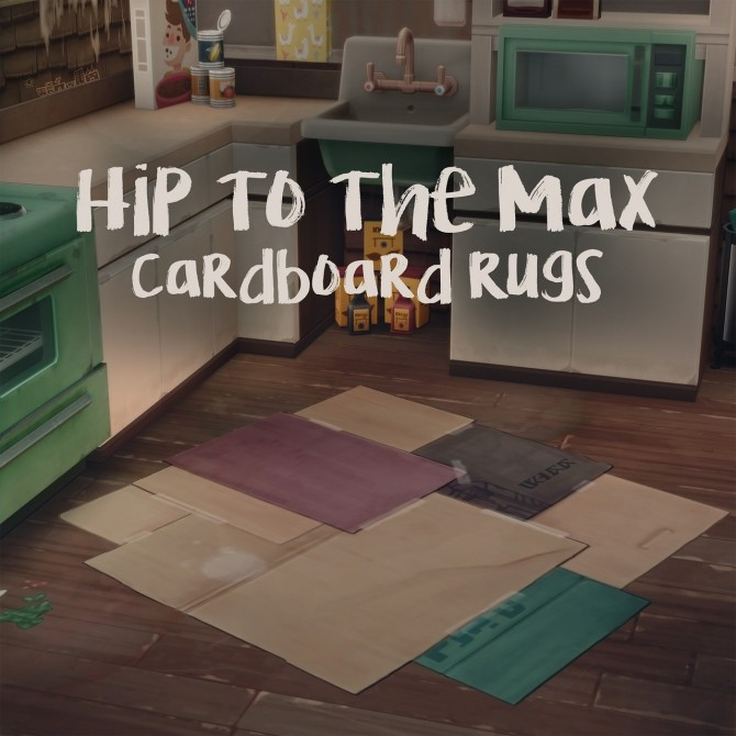 Sims 4 HIP TO THE MAX CARDBOARD RUGS at Picture Amoebae