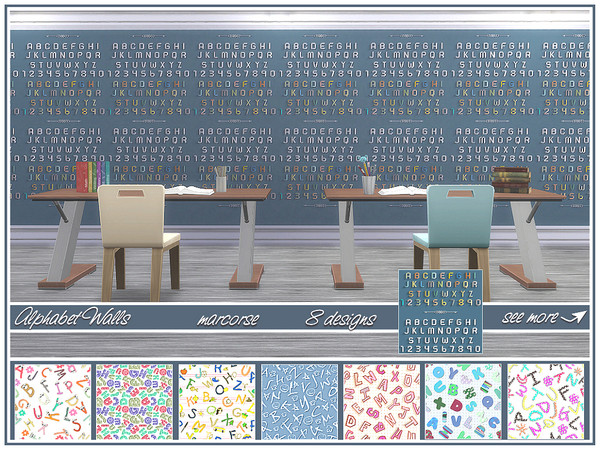 Alphabet Walls by marcorse at TSR image 1200 Sims 4 Updates