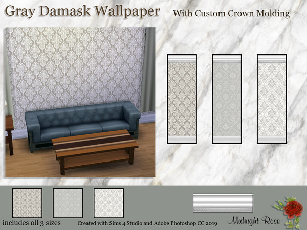 Gray Damask wallpaper by MidnightRose at TSR image 1300 Sims 4 Updates