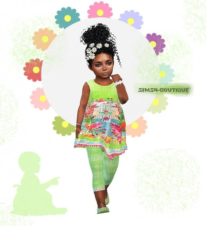 Sims 4 Designer Set: Top, Leggings, Ballerinas & Hairflower at Sims4 Boutique