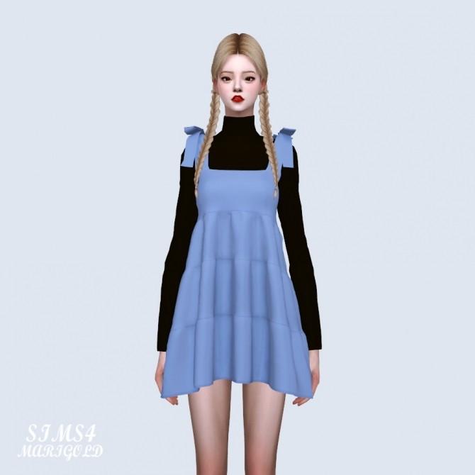 Sims 4 Ribbon Tiered Mini Dress With T (P) at Marigold