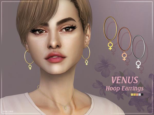 Sims 4 Venus Hoop Earrings by Pralinesims at TSR