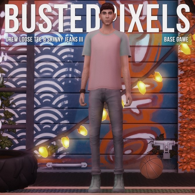 Crew Loose Color Block & Skinny Jeans III at Busted Pixels image 1534 670x670 Sims 4 Updates