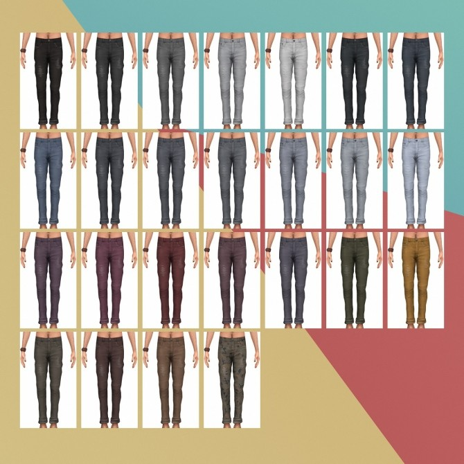 Crew Loose Color Block & Skinny Jeans III at Busted Pixels image 1584 670x670 Sims 4 Updates