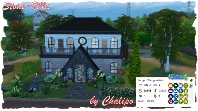 Sims 4 Stone Villa by Chalipo at All 4 Sims