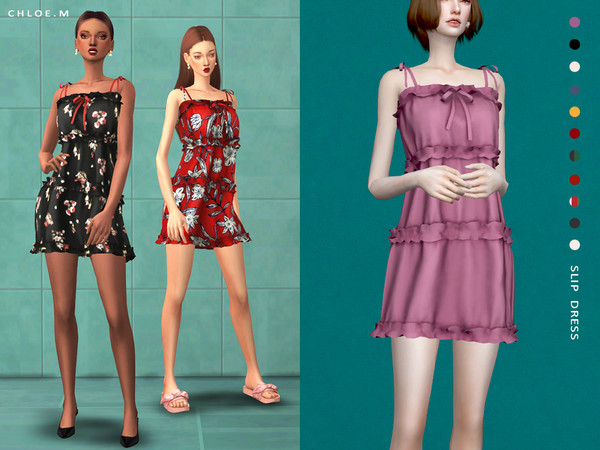 Sims 4 Slip Dress by ChloeMMM at TSR