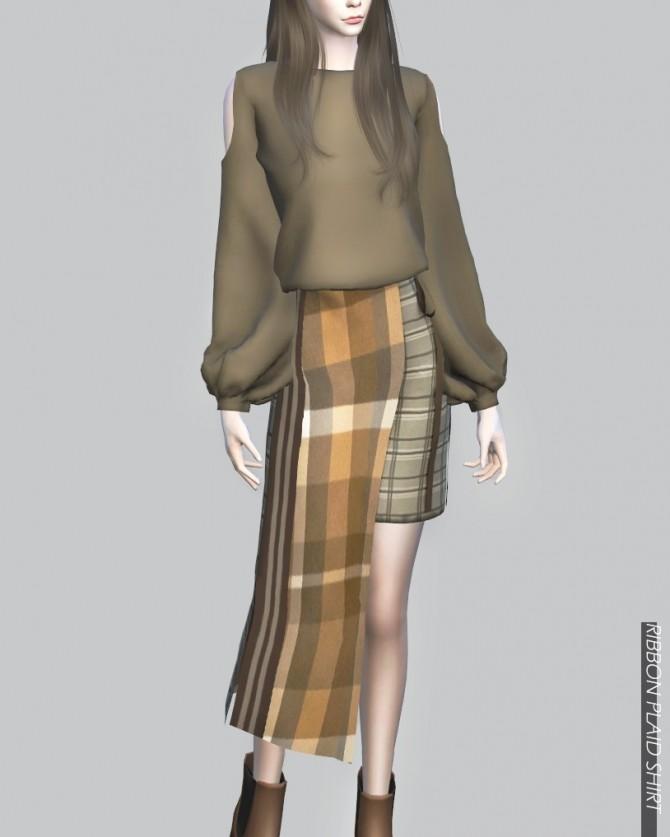 Sims 4 Ribbon Plaid Skirt at RYUFFY