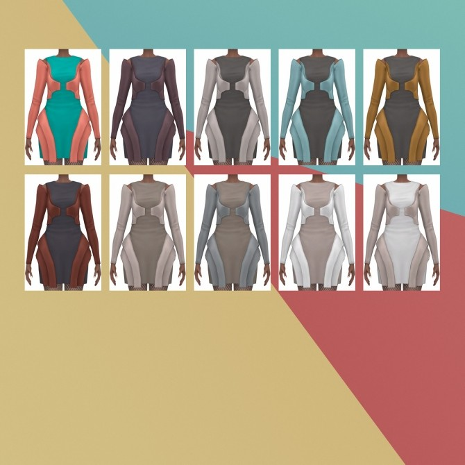 Sims 4 Into The Future Metal Dress S3 Conversion at Busted Pixels