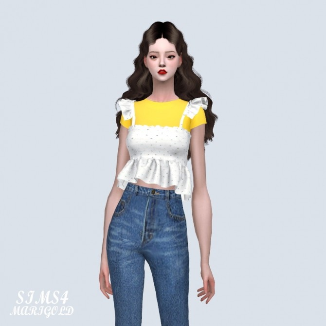 Sims 4 Sweet Frill Sleeveless With T at Marigold