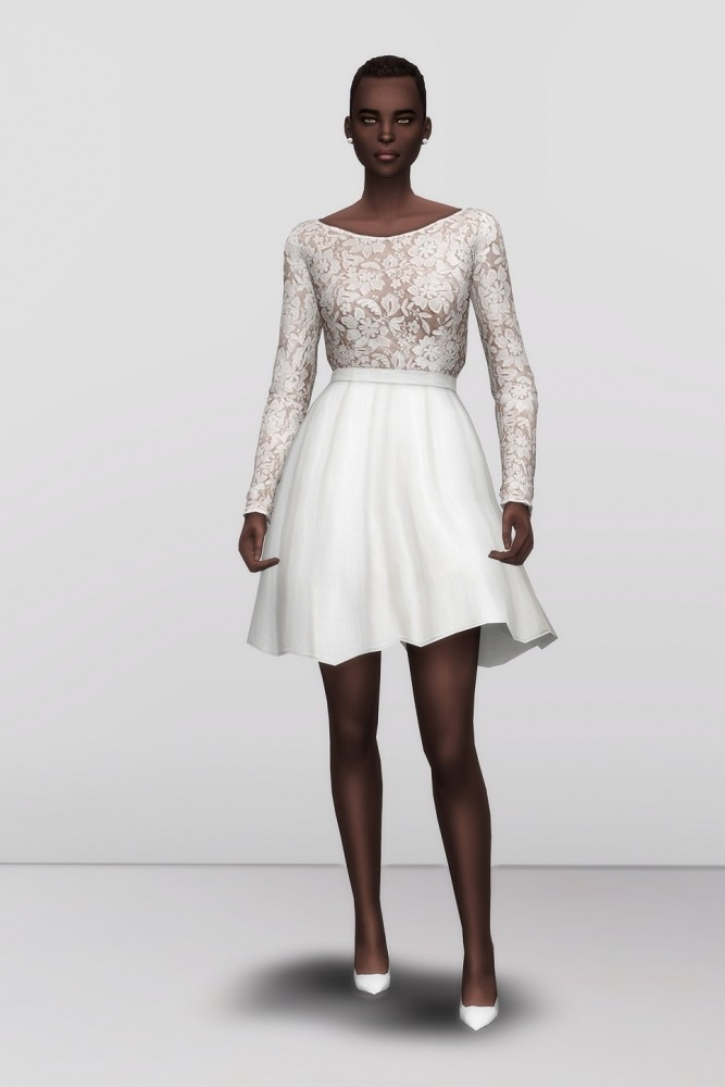 Sims 4 White clover embroidered mini dress at Rusty Nail