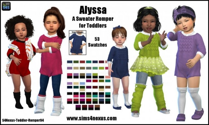 Sims 4 Alyssa sweater romper by SamanthaGump at Sims 4 Nexus