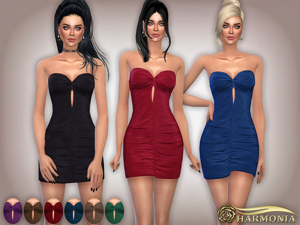 Slinky Bandeau Knot Ruched Bodycon Dress by Harmonia at TSR image 1730 Sims 4 Updates