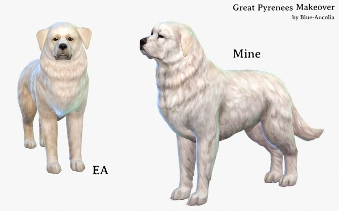 Sims 4 Great Pyrenees Makeover at Blue Ancolia