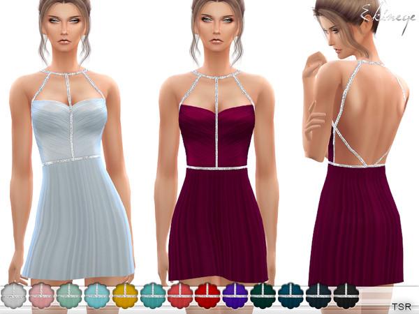 Sims 4 Short Sweetheart Open Back Dress by ekinege at TSR