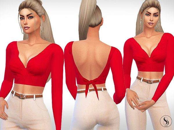 Sims 4 Female Tie Back Long Sleeve Tops by Saliwa at TSR
