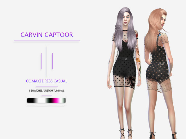 Sims 4 Maxi Dress Casual by carvin captoor at TSR