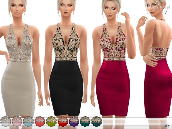 Sims 4 V Neck Embellished Mini Dress by ekinege at TSR